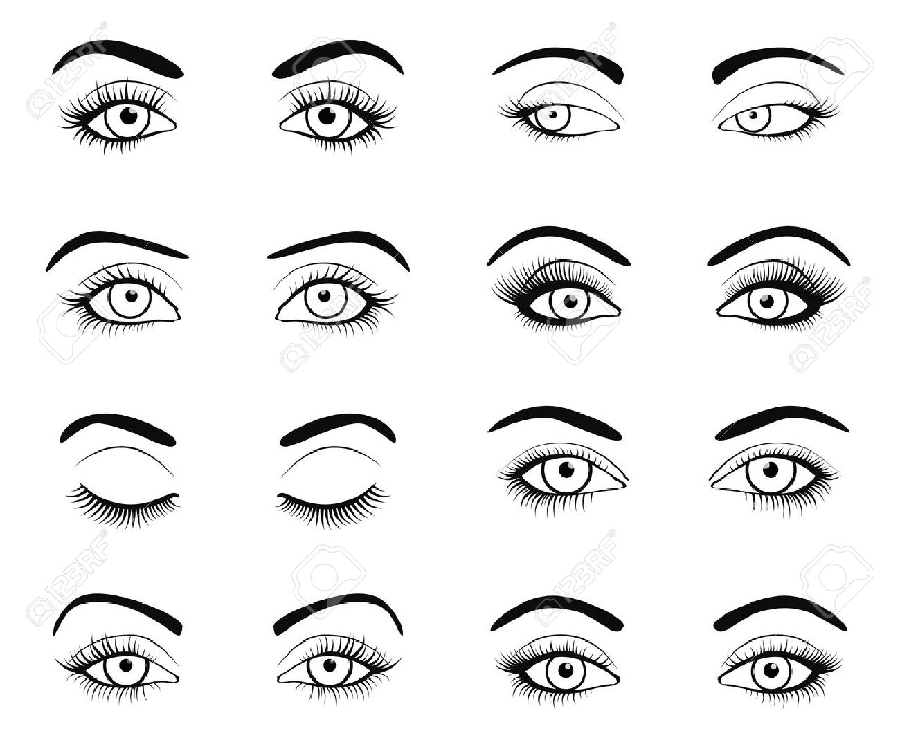 Set of female eyes and brows image with beautifully fashion eyelashes. Vector illustration for health glamour design. Black and white colors. Close and open woman eyes. - 51849181
