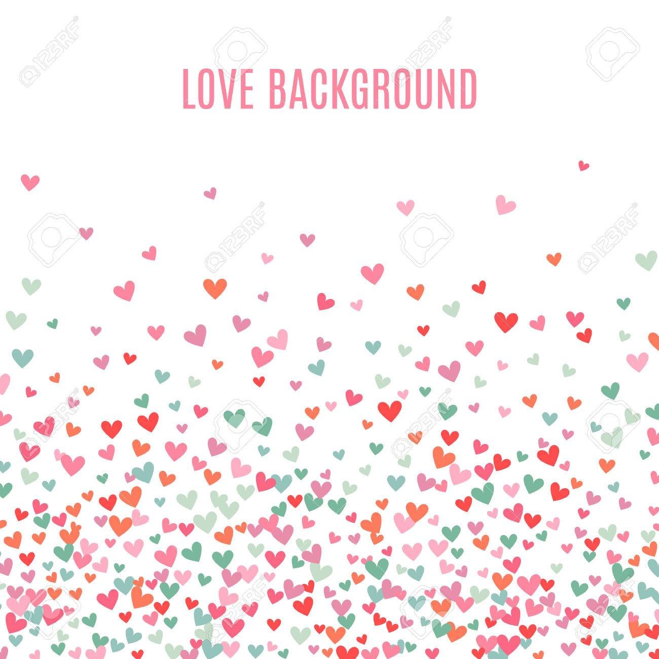 Romantic pink and blue heart background. Vector illustration for holiday design. Many flying hearts down on white background. For wedding card, valentine day greetings, lovely frame. - 51850023
