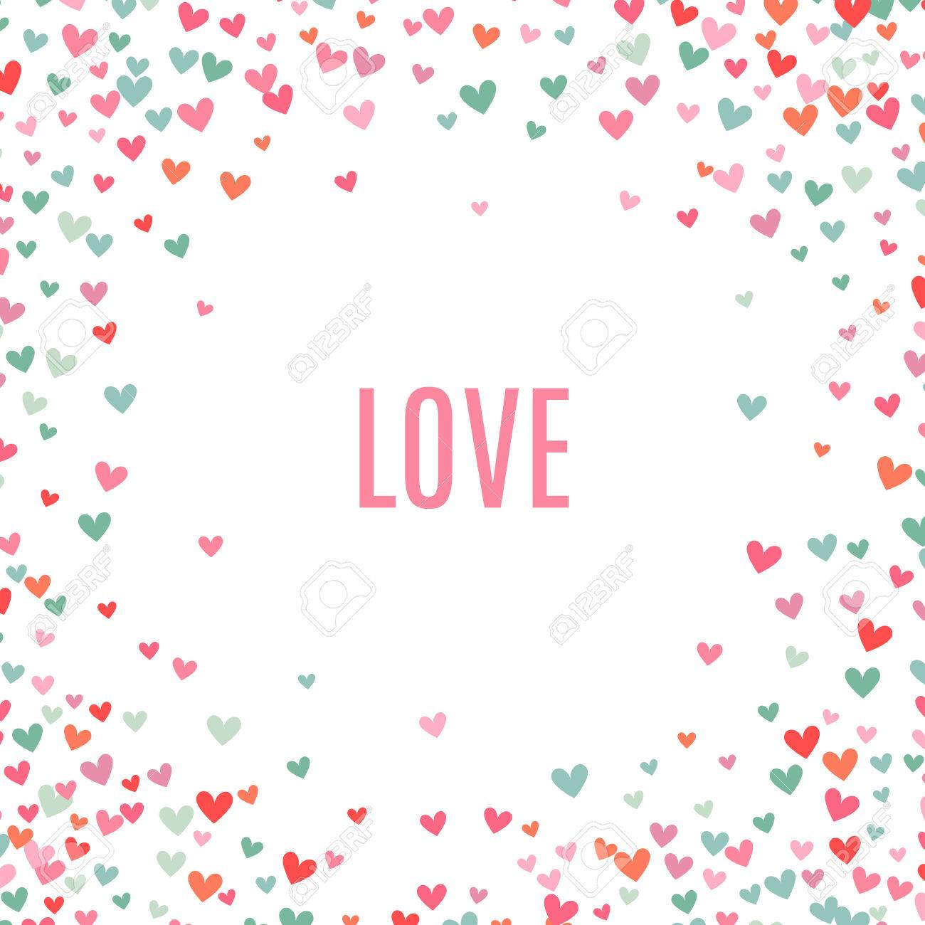Romantic pink and blue heart background. Vector illustration for holiday design. Many flying hearts around on white background. For wedding card, valentine day greetings, lovely frame. - 51850027