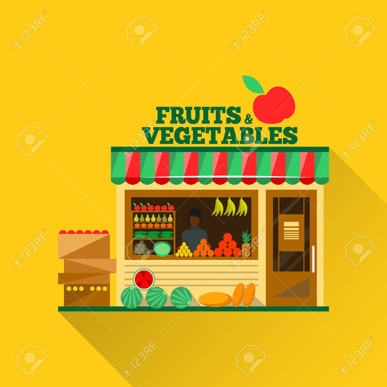 Fruits and vegetables shop. Man silhouette in a shop window. Green grocery stall. Food shop vector illustration. Banana, apple, orange, lime, pumpkin. Promotion of healthy eating concept. - 51850301