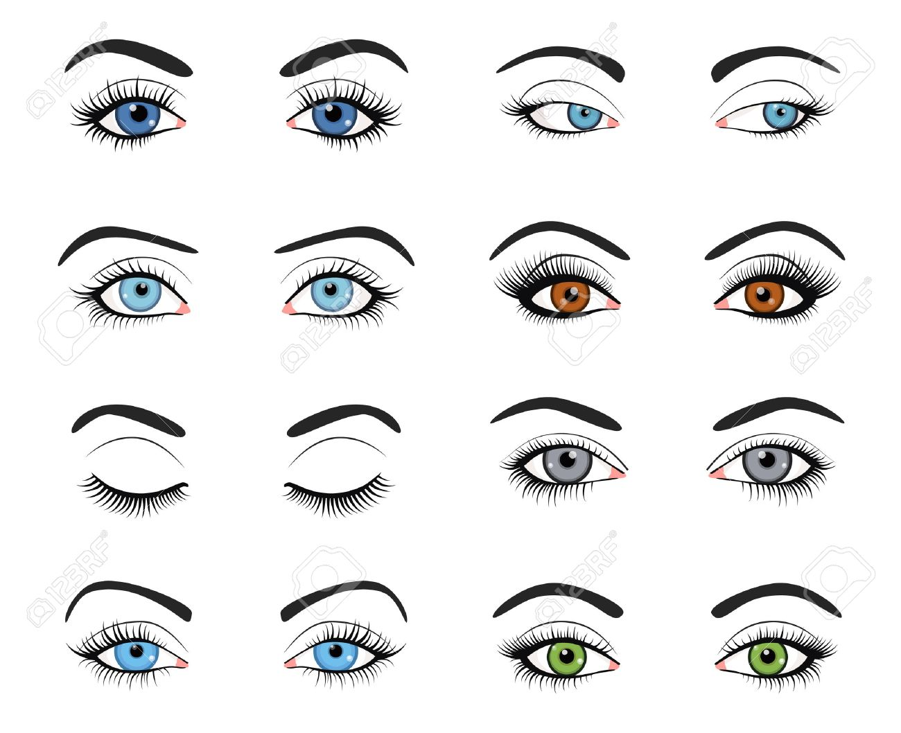 Set of female eyes and brows image with beautifully fashion make up. Vector illustration for health glamour design. Blue, green and brown colors. Close and open woman eyes. - 51850357