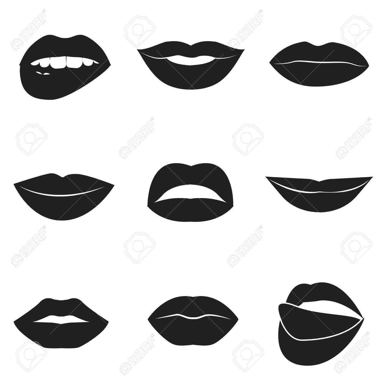 Belle Collection De Lèvres Féminines. Baisers Sexy. Sourires Romantiques.  Bouches De La Passion. Lèvres Avec Des Dents Et De La Langue. Annonce  Lipstick. f8f1de4af1db