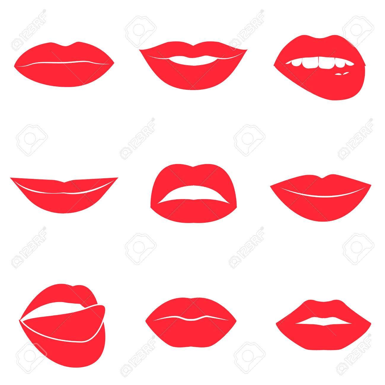 Belle Collection De Lèvres Féminines. Bisous Sexy. Sourires Romantiques.  Bouches De La Passion. Lèvres Aux Dents Et à La Langue. 631ec0e91086
