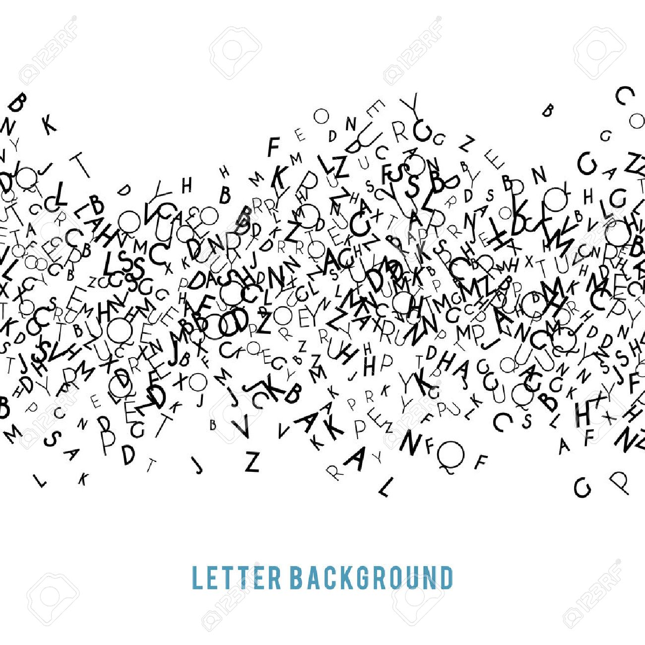Abstract black alphabet ornament border isolated on white background. Vector illustration for education writing design. Stripe of random letters fly in middle. Alphabet book concept for grammar school - 52613708