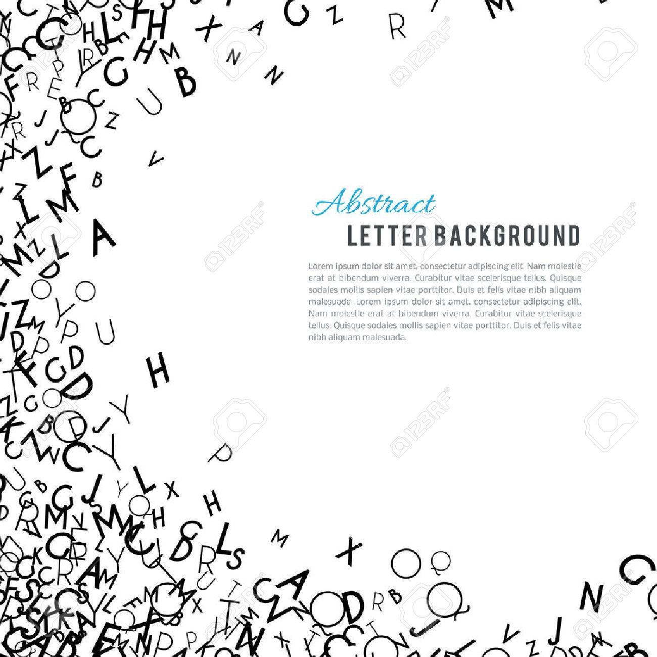 Abstract black alphabet ornament frame isolated on white background. Vector illustration for education writing design. Random letters flying around. Alphabet book concept for grammar school - 52613712