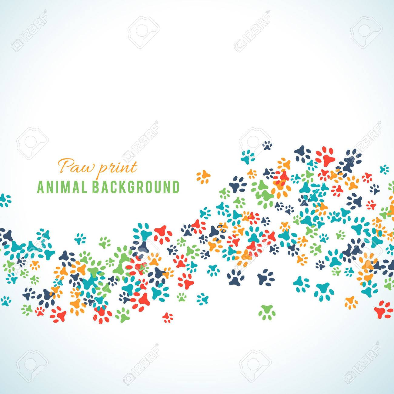 Colorful animal footprint ornament border isolated on white background. Vector illustration for animal design. Random foot prints border. Many bright trail. Frame of cute paw trace. World wildlife day - 52613716