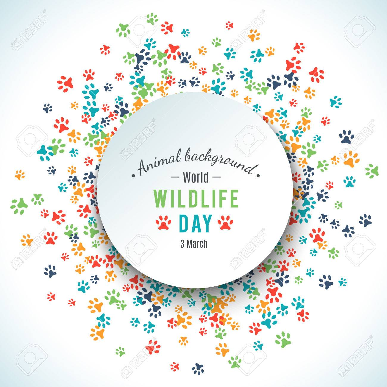 Colorful animal footprint ornament border isolated on white background. Vector illustration for animal design. Random foot prints round. Many bright trail. Frame of cute paw trace. World wildlife day - 52613720