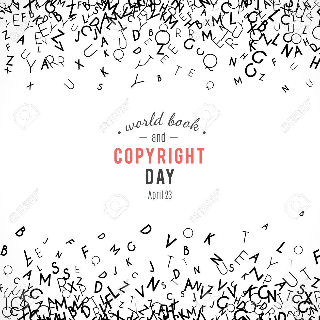 Abstract background with letters. World book and copyright day. International Day of the Book or World Book Days. Promotion of reading, publishing and copyright. Alphabet borders. April 23. Vector - 52613729