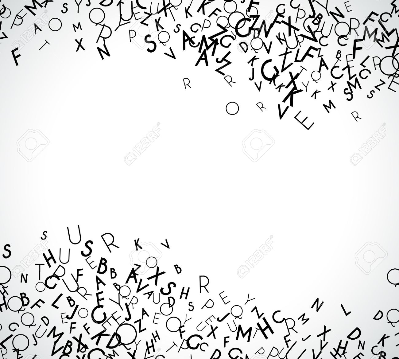 Abstract black alphabet ornament border isolated on white background. Vector illustration for education writing design. Stripe of random letters fly in middle. Alphabet book concept for grammar school - 52613730