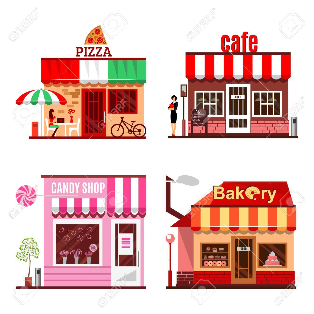 Building cartoon clipart restaurant building and restaurant building - Pizza House Cool Set Of Detailed Flat Design City Public Buildings Restaurants And Shops