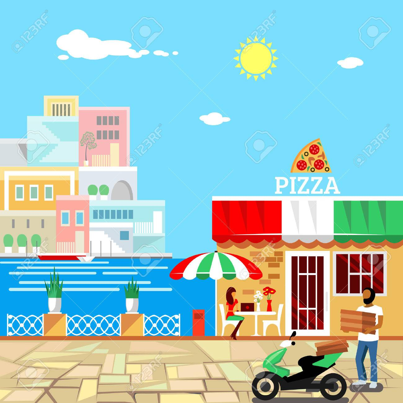 Pizza restaurant with terrace in front. Man delivers pizza. Calm place in city center. Woman eats pizza at the table. Pizzeria building . Summer facade. Midday. Hot weather. Vector illustration - 52613736