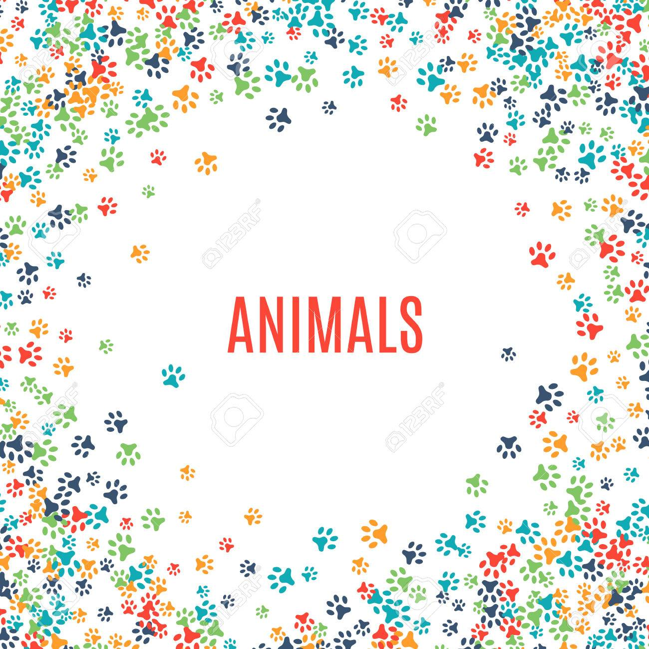 Colorful animal footprint ornament border isolated on white background. Vector illustration for animal design. Random foot prints frame. Many bright trail. Frame of cute paw trace. World wildlife day - 52613747