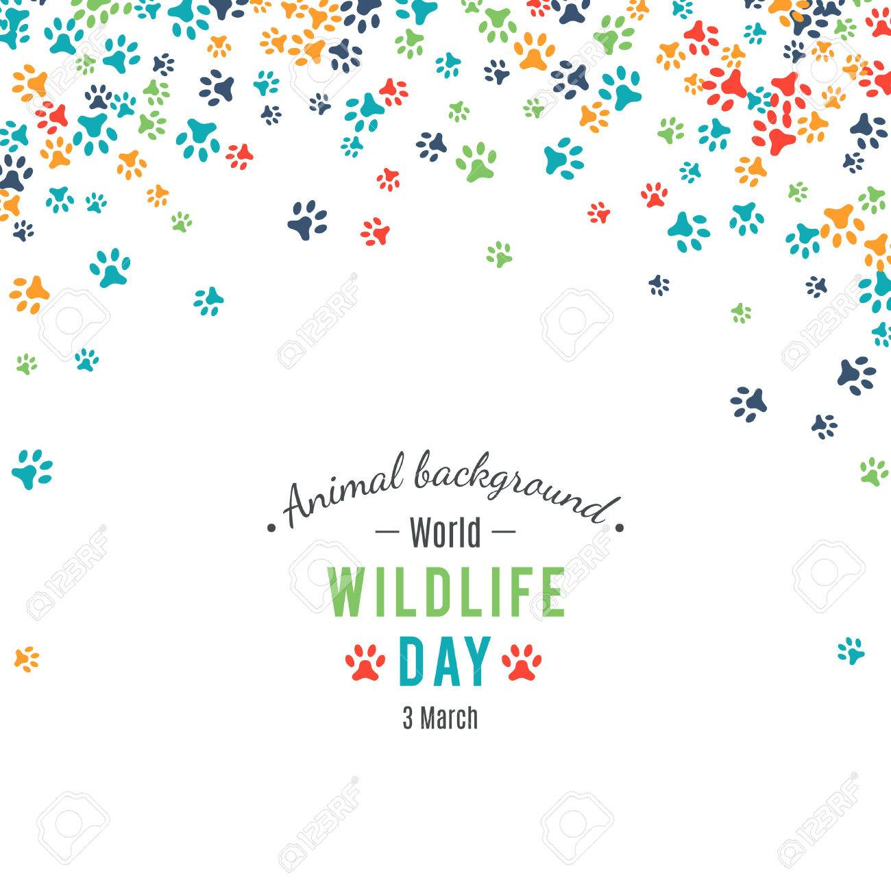Wildlife day poster. Abstract banner promotion of world wild life day. Ecology and environment protection concept. Dog or cat pet footprints. Animal background. Footstep. Vector illustration - 52613748