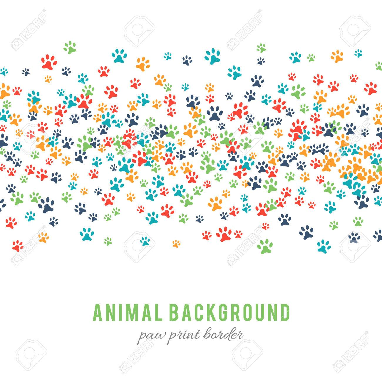 Colorful dog paw prints background isolated on white background. Paw print border design. Animalistic style. Footprint icons. Colorful pet steps. Abstract animal graphic. Vector illustration - 52613750