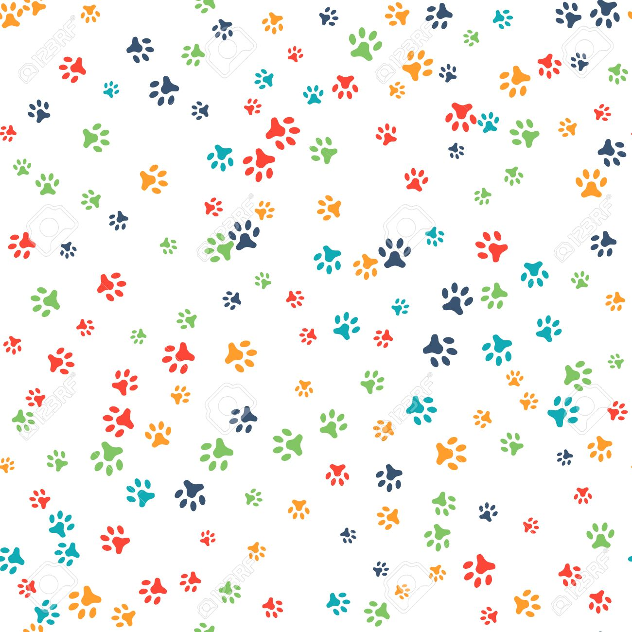Vector seamless pattern with cat or dog footprints. Can be used for wallpaper, web page background, surface textures. Add your text. Cute colorful paws. Animal concept. Foot steps. Veterinary. Vector - 52613752