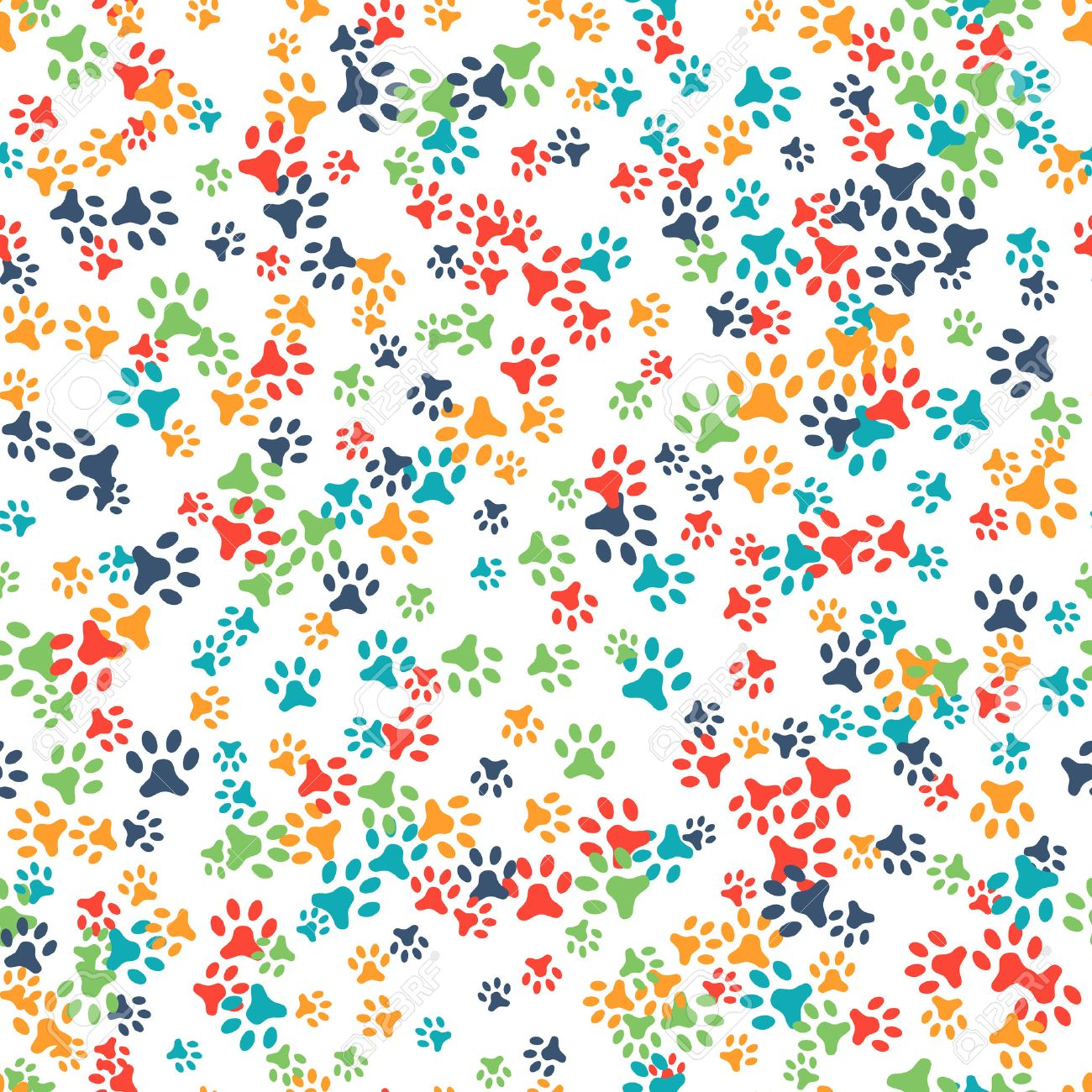 Vector seamless pattern with cat or dog footprints. Can be used for wallpaper, web page background, surface textures. Add your text. Cute colorful paws. Animal concept. Foot steps. Veterinary. Vector - 52613753