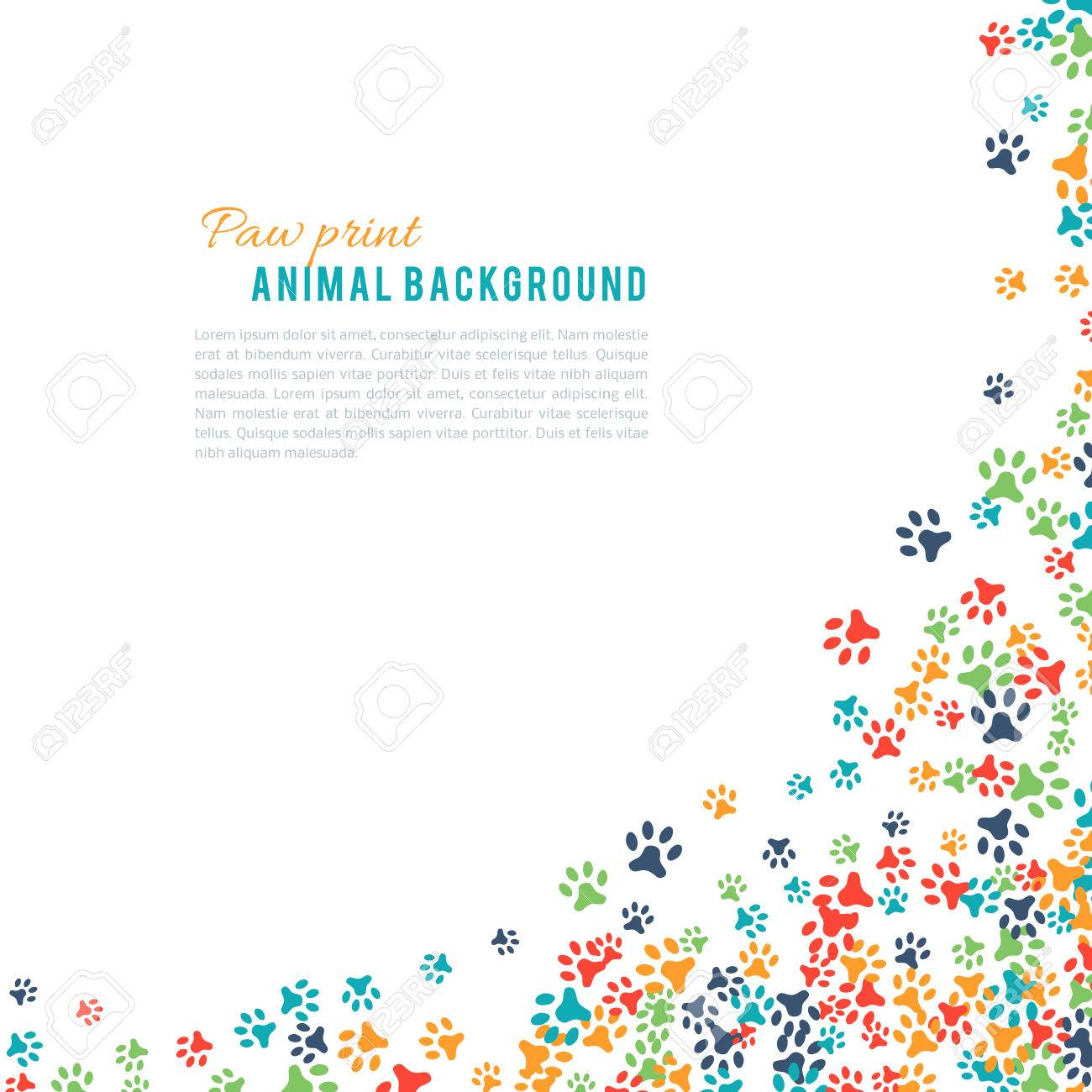 Colorful animal footprint ornament border isolated on white background. Vector illustration for animal design. Random foot prints corner. Many bright trail. Frame of cute paw trace. World wildlife day - 52613768