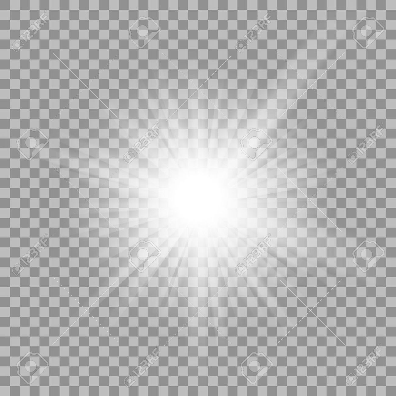 White glowing light burst explosion with transparent. - 53121484