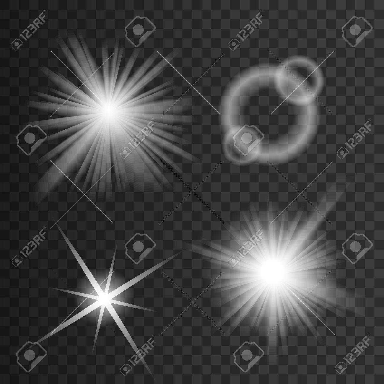 Set of white glowing light burst explosion with transparent. - 53121041