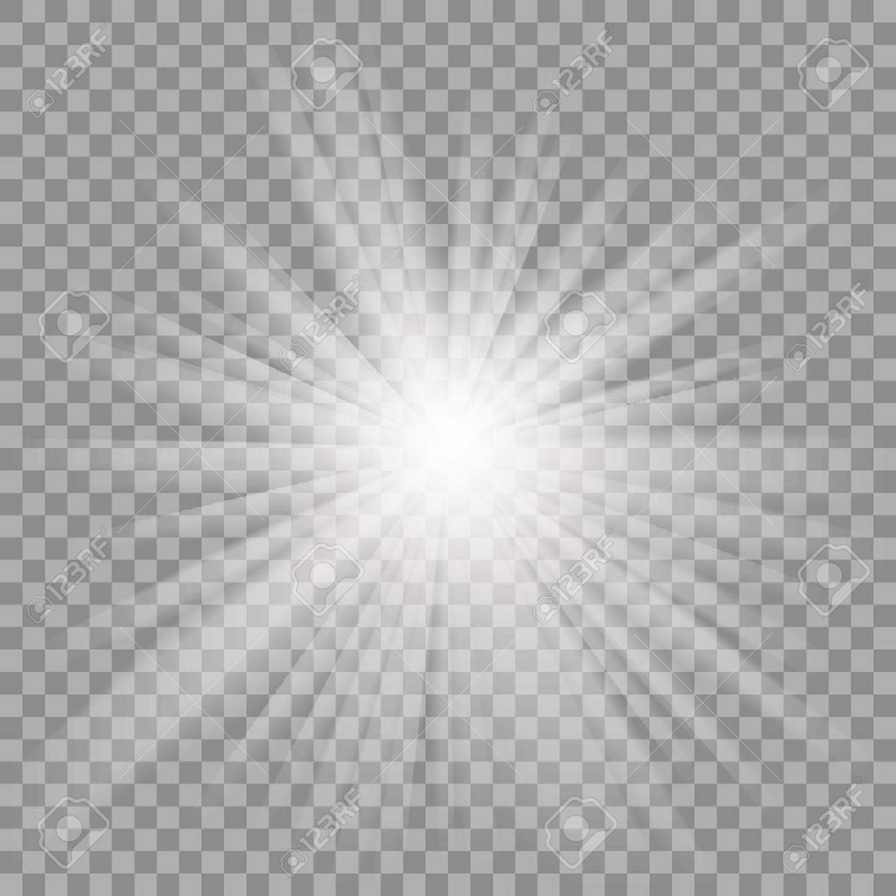 White glowing light burst explosion with transparent. - 53121695