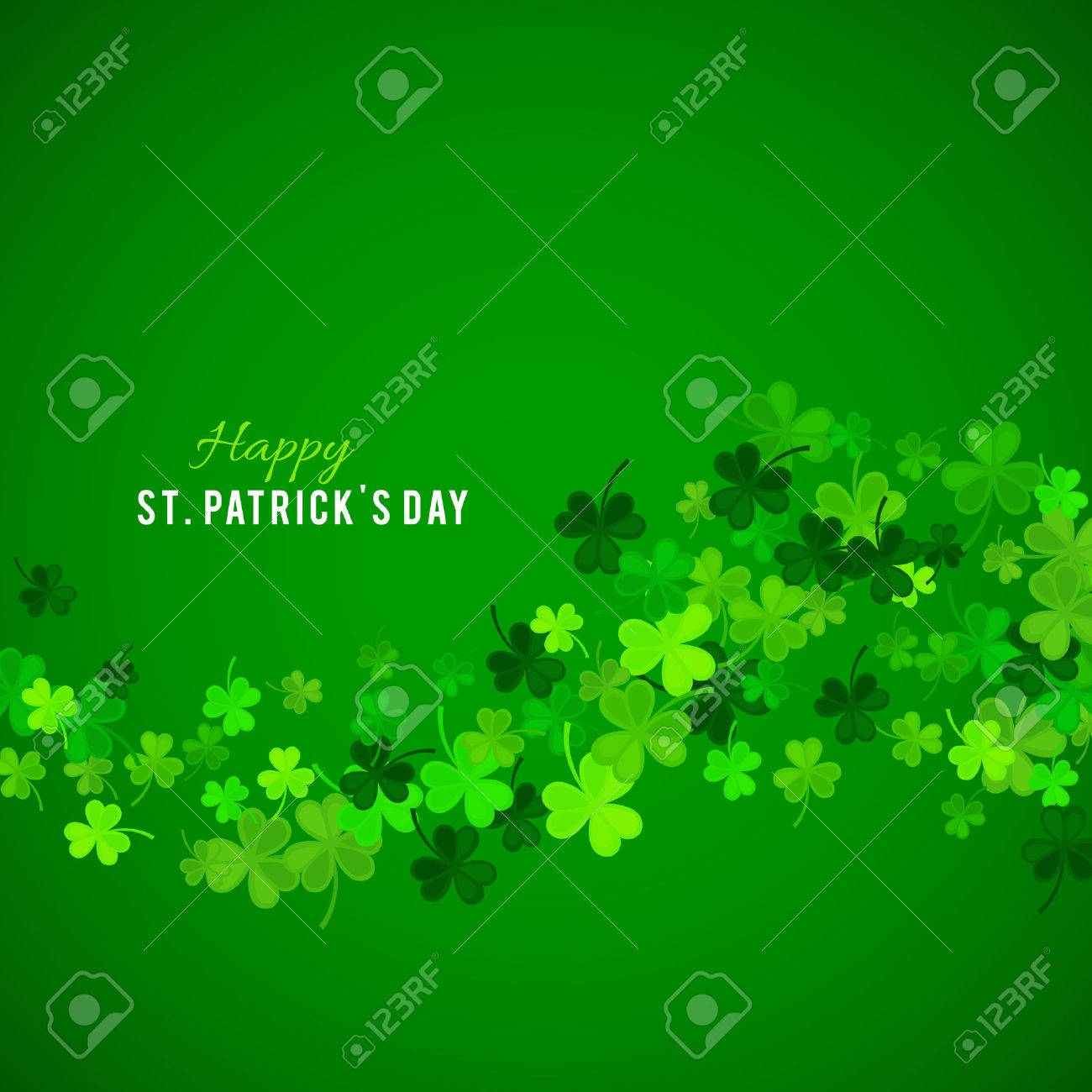 St Patrick's Day background. Vector illustration for lucky spring design with shamrock. Green clover wave border isolated on green background. Ireland symbol pattern. Irish header for web site. - 53123232