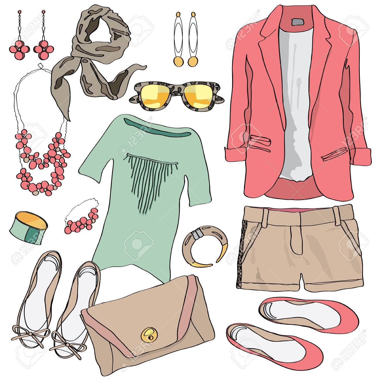 Casual Women Clothes Collection Decorative Icon Sketch Set With