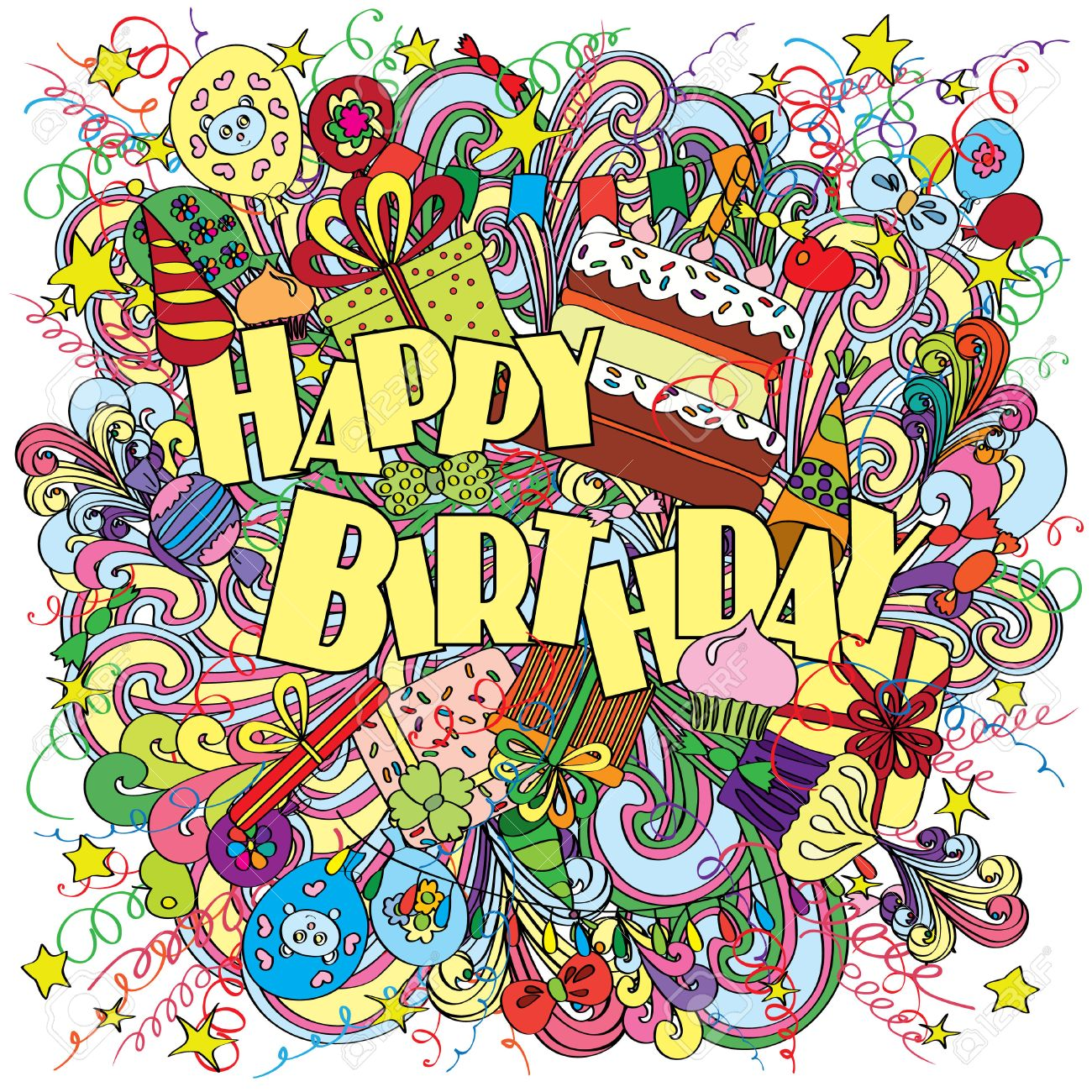 Happy Birthday Greeting Card On Background With Celebration Elements