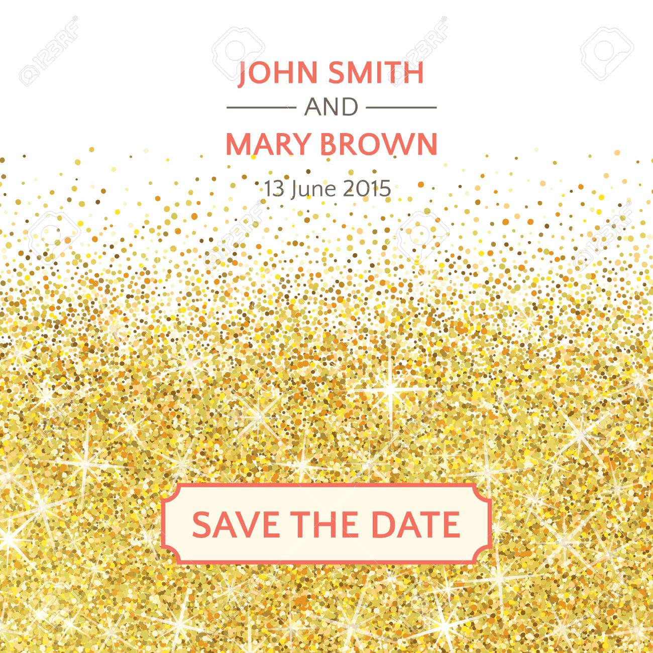 Perfect Wedding Template With Golden Confetti Theme Ideal For