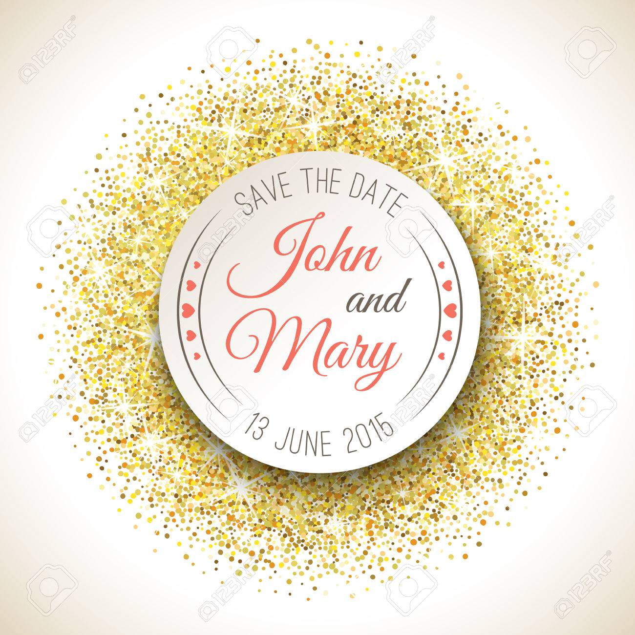 Perfect wedding template with golden confetti theme. Ideal for Save The Date, baby shower, mothers day, valentines day, birthday cards, invitations. - 53524529