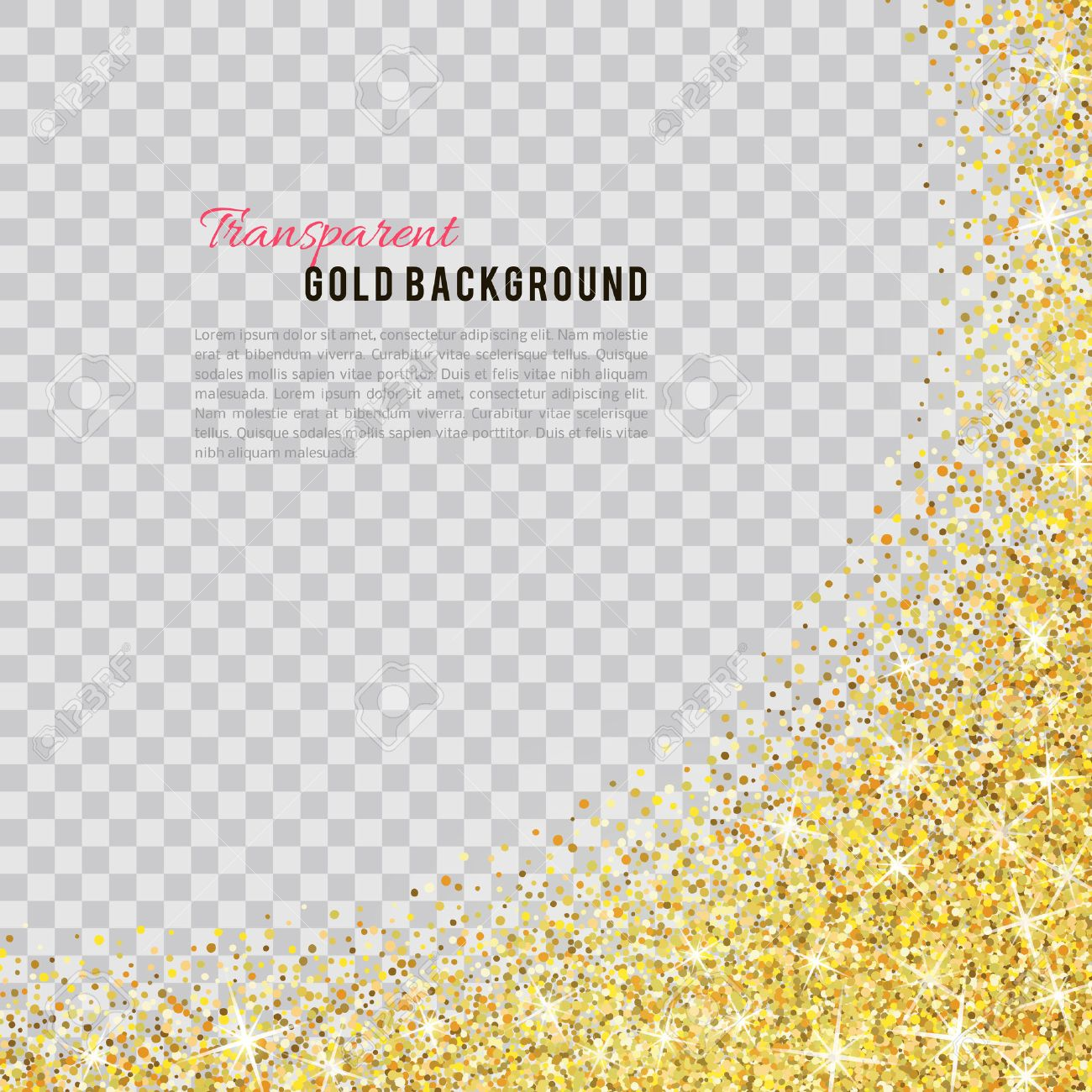 Gold glitter texture isolated on transparent background. - 53524531