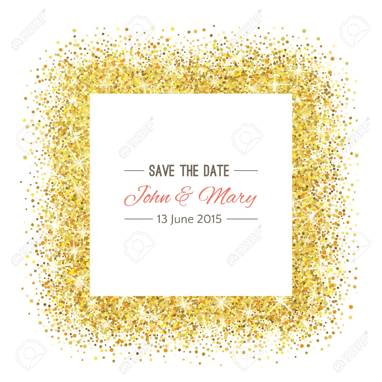 Perfect wedding template with golden confetti theme. Ideal for Save The Date, baby shower, mothers day, valentines day, birthday cards, invitations. - 53524099