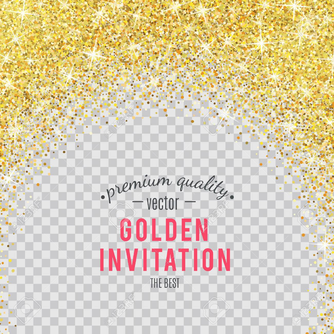 Gold glitter texture isolated on transparent background. - 53983251