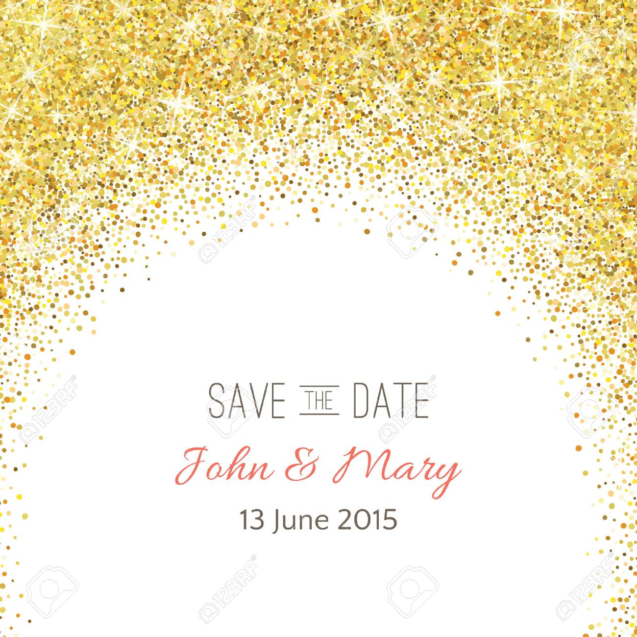 Perfect Wedding Template With Golden Confetti Theme. Royalty Free ...