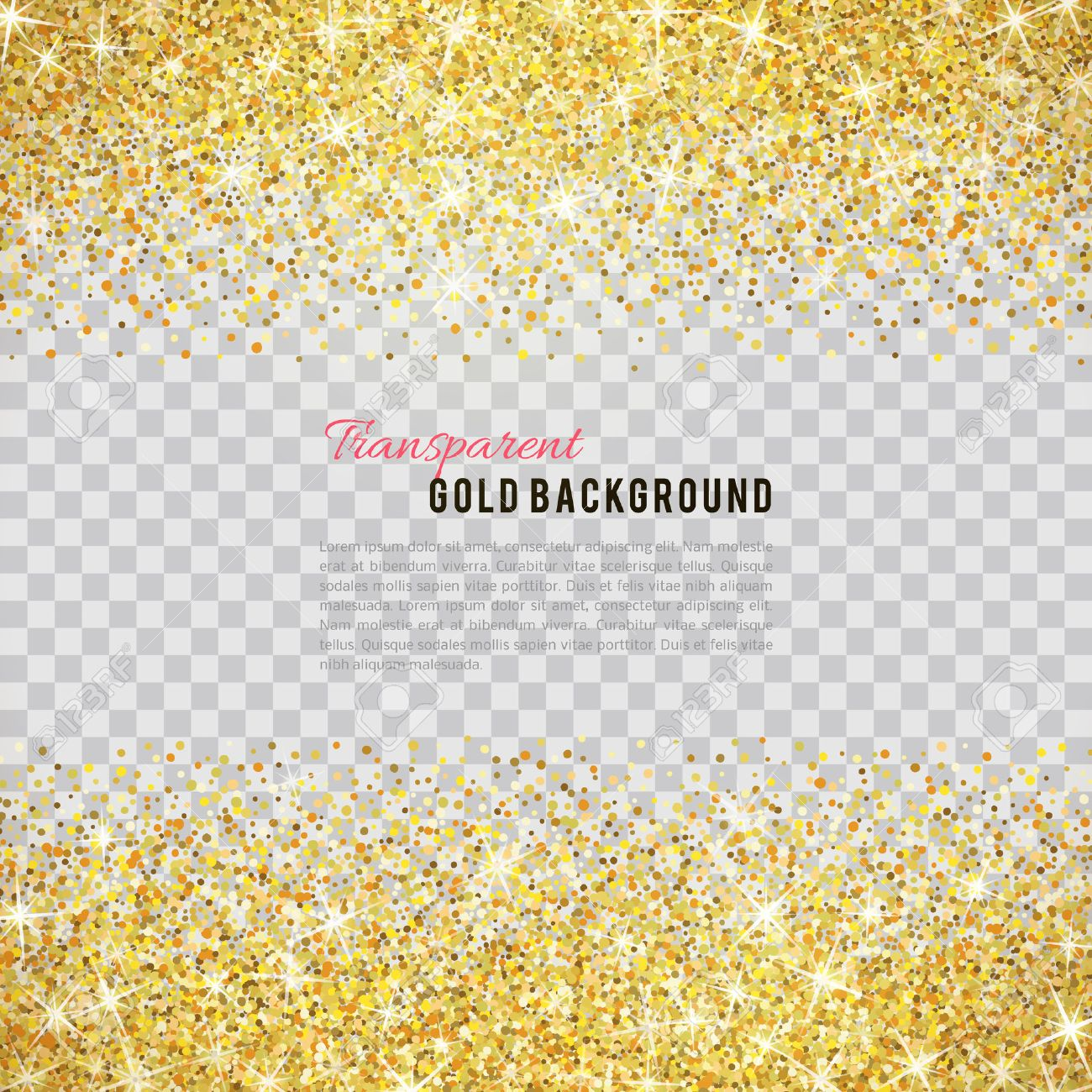 Gold glitter texture isolated on transparent background. - 53983328