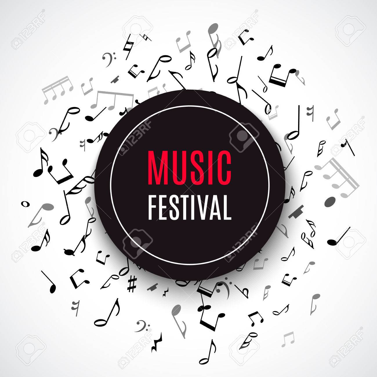 Abstract musical concert flyer with black notes on white background. Vector Illustration for music design. Modern pop concept art melody banner. Sound key decoration with music symbol sign. - 53984715