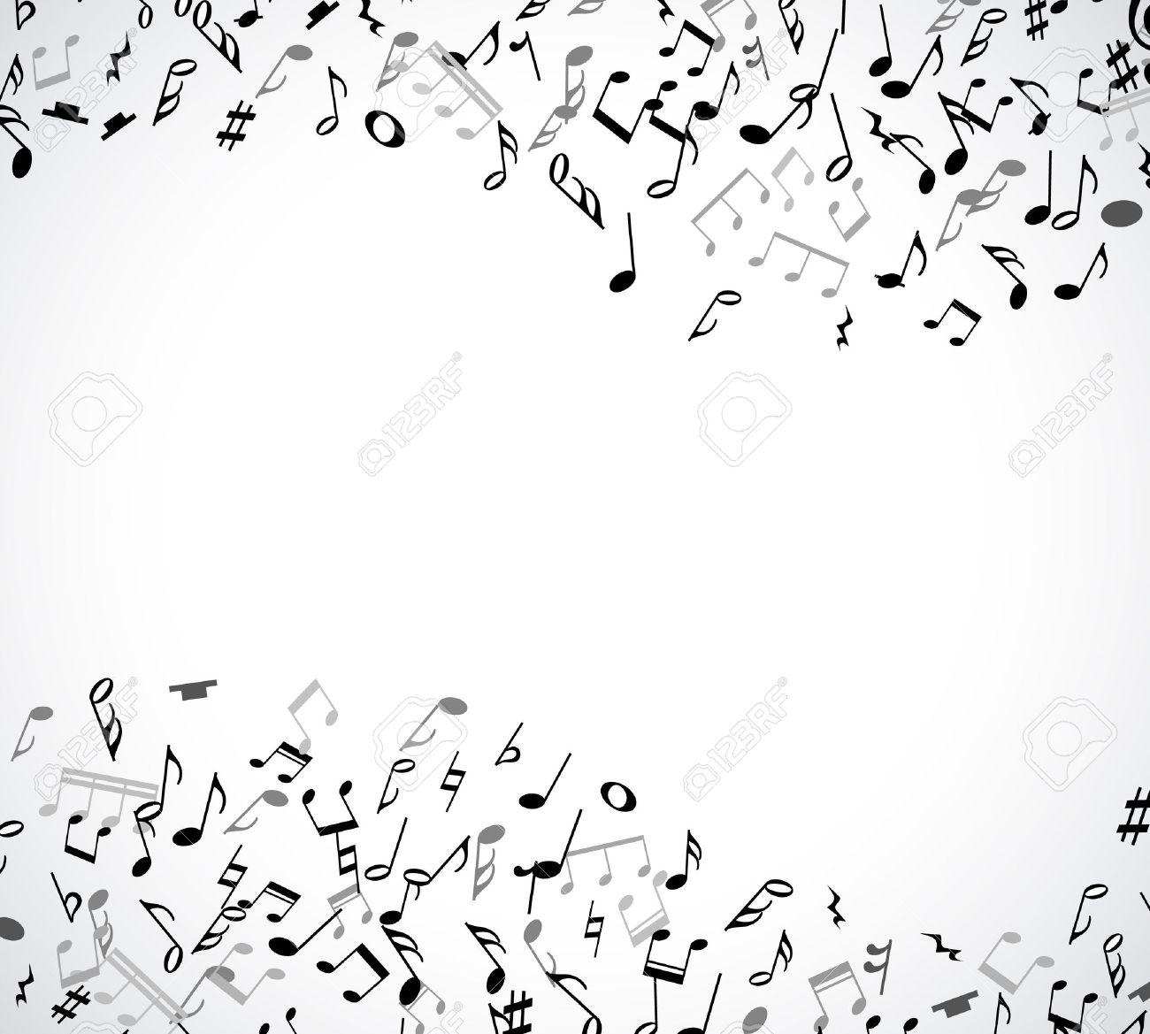 Marco Musical Abstracta Y La Frontera Con Notas Negras Sobre Fondo ...