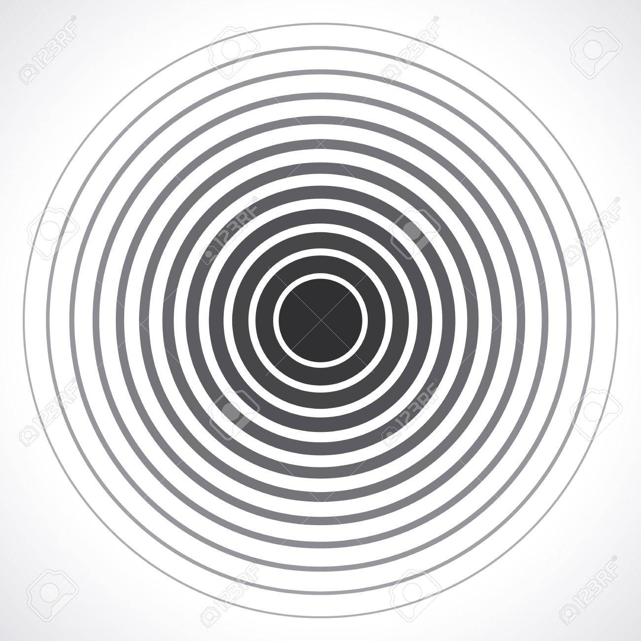 Concentric circle elements. Vector illustration for sound wave. Black and white color ring. Circle spin target. Radio station signal. Center minimal radial ripple line outline abstractionism - 53984872