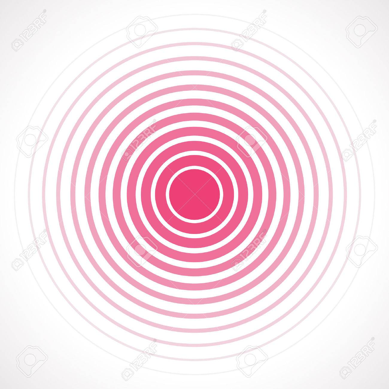 Concentric circle elements. Vector illustration for sound wave. Red and white color ring. Circle spin target. Radio station signal. Center minimal radial ripple line outline abstractionism - 53984873