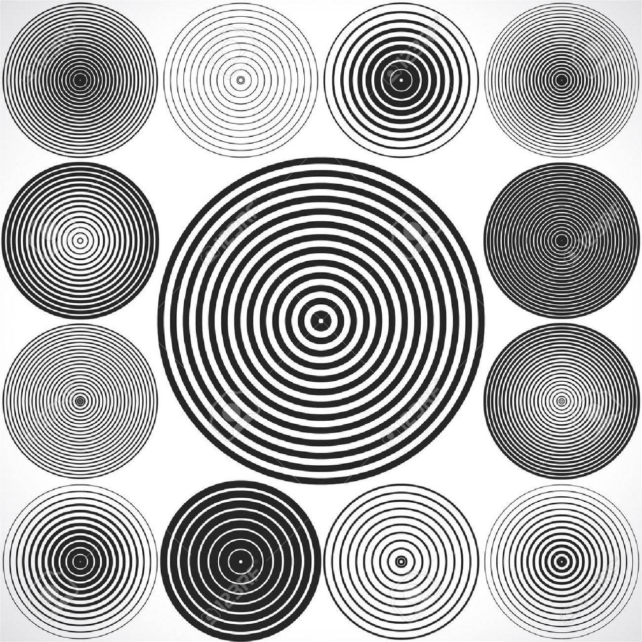 Set of concentric circle elements. - 53984888