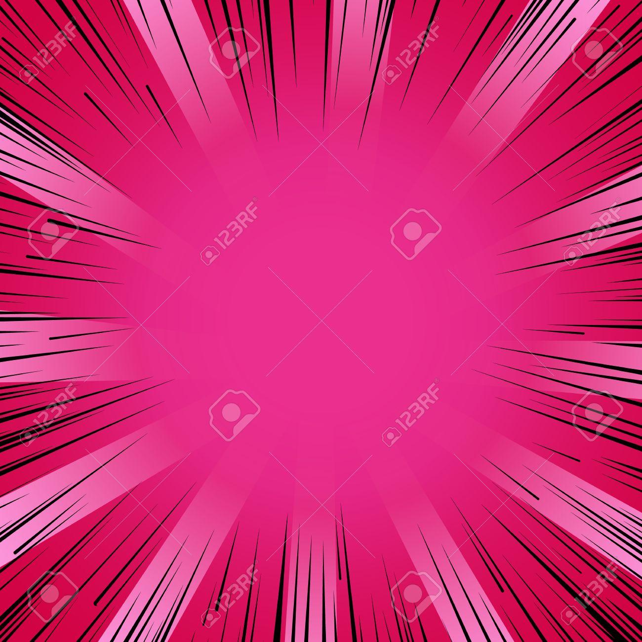 Abstract comic book flash explosion radial lines background. Vector illustration for superhero design. Bright black pink light strip burst. Flash ray blast glow Manga cartoon hero fight cute print - 53985444