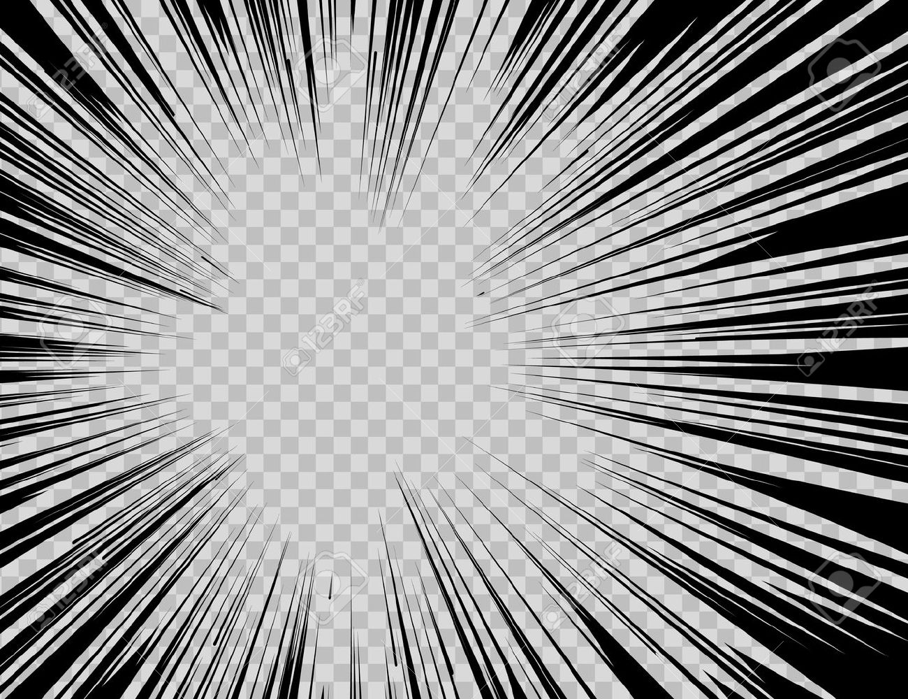 Abstract comic book flash explosion radial lines on transparent background. - 53985491