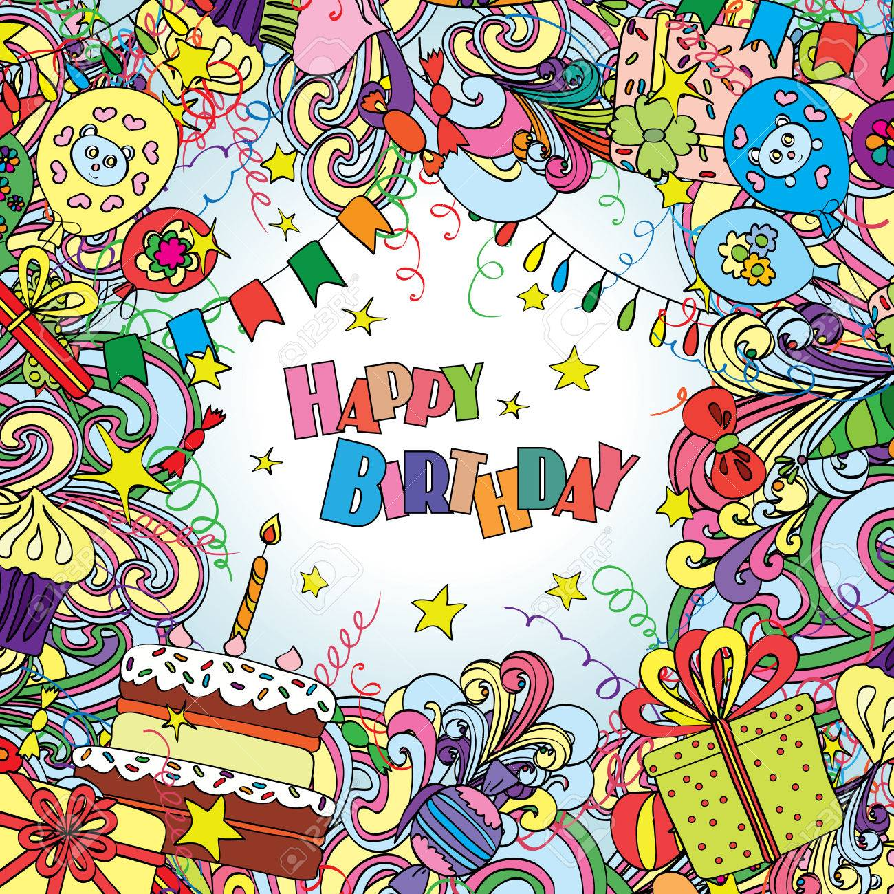 Happy Birthday greeting card on white background with celebration elements. - 53985602