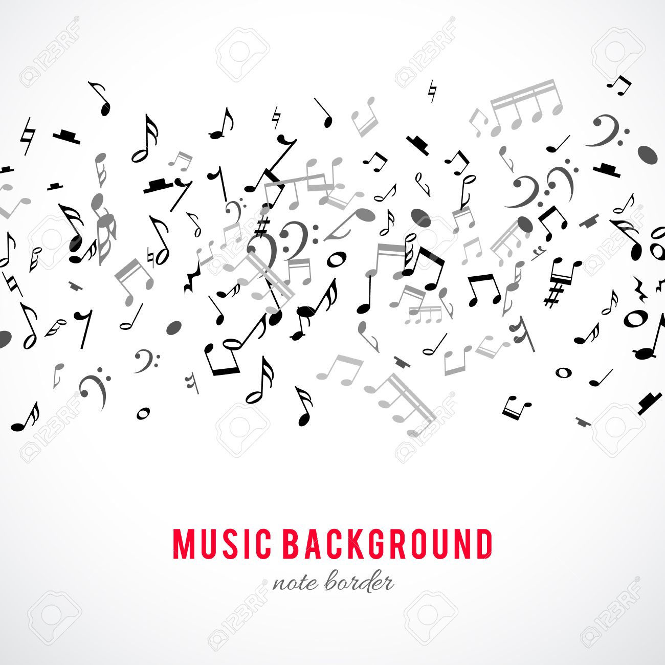 Abstract musical frame and border with black notes on white background. Vector Illustration for music design. Modern pop concept art melody banner. Sound key decoration with music symbol sign. - 53985667