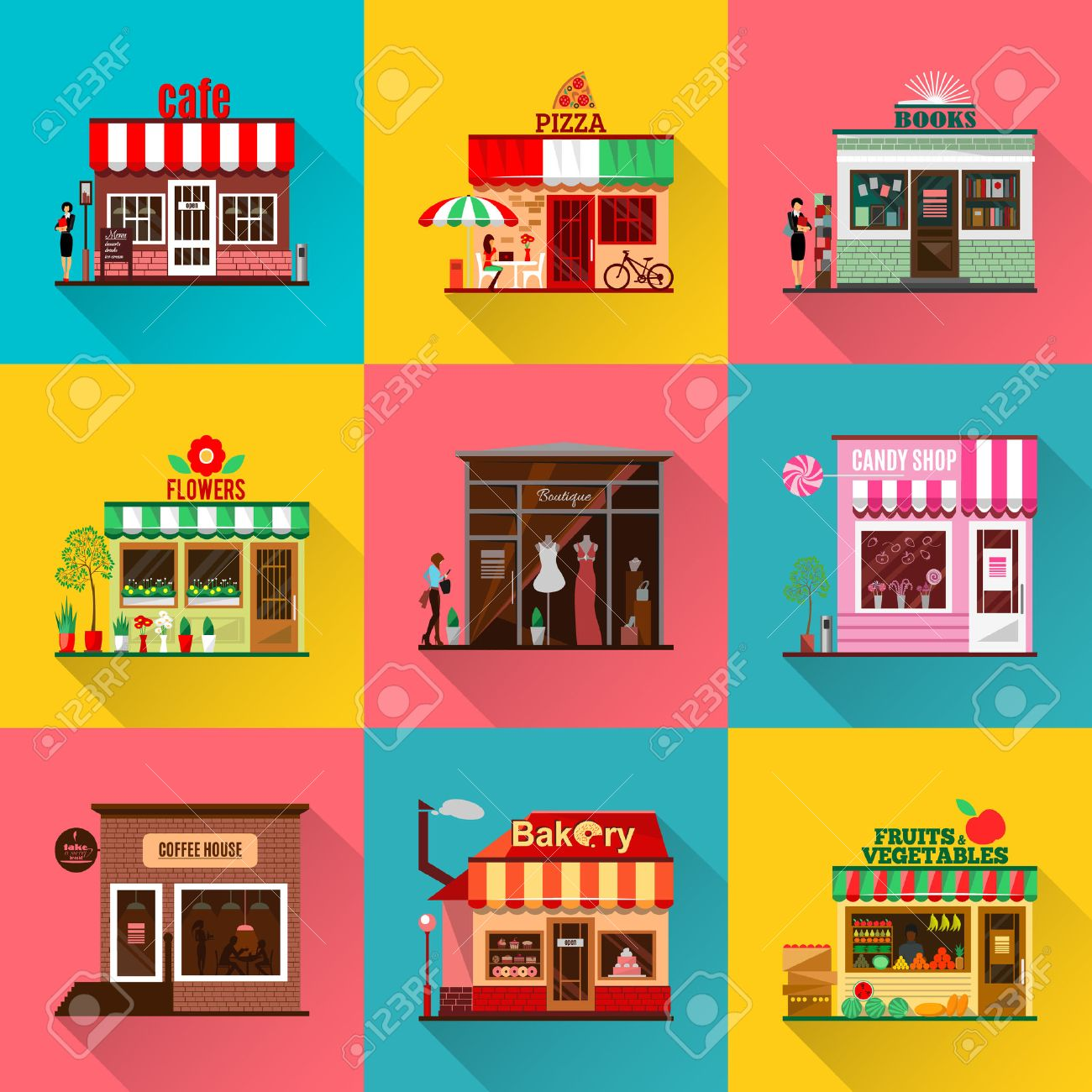 Set Of Flat Shop Building Facades Icons Vector Illustration Royalty Free Cliparts Vectors And Stock Illustration Image 55298518