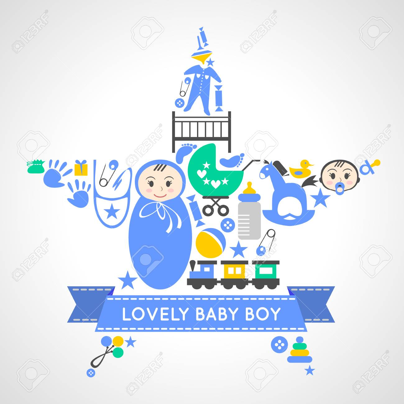 Baby Boy Icons Collection Set In Form Of A Star Newborn Toddler