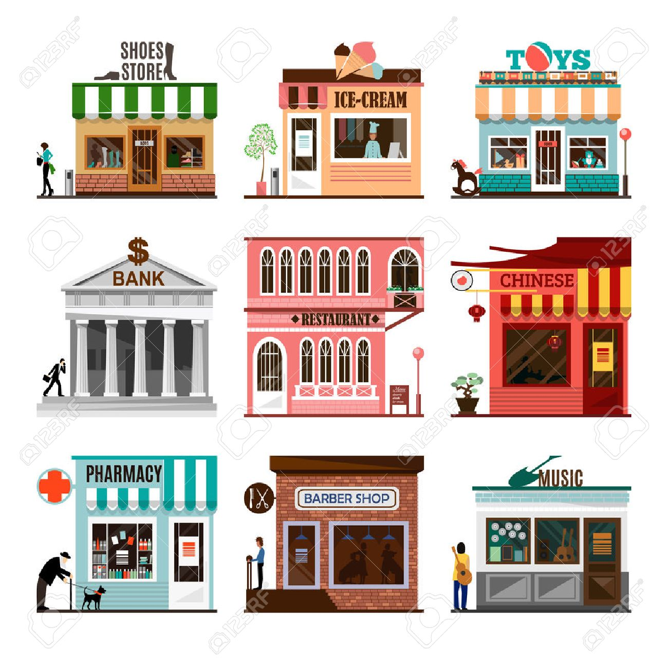 Set of flat shop building facades icons. Vector illustration local market store design. Street restaurant, retail, shoes stall, ice cream, toys game, bank, chinese, pharmacy, barber, music. App sign - 55726070