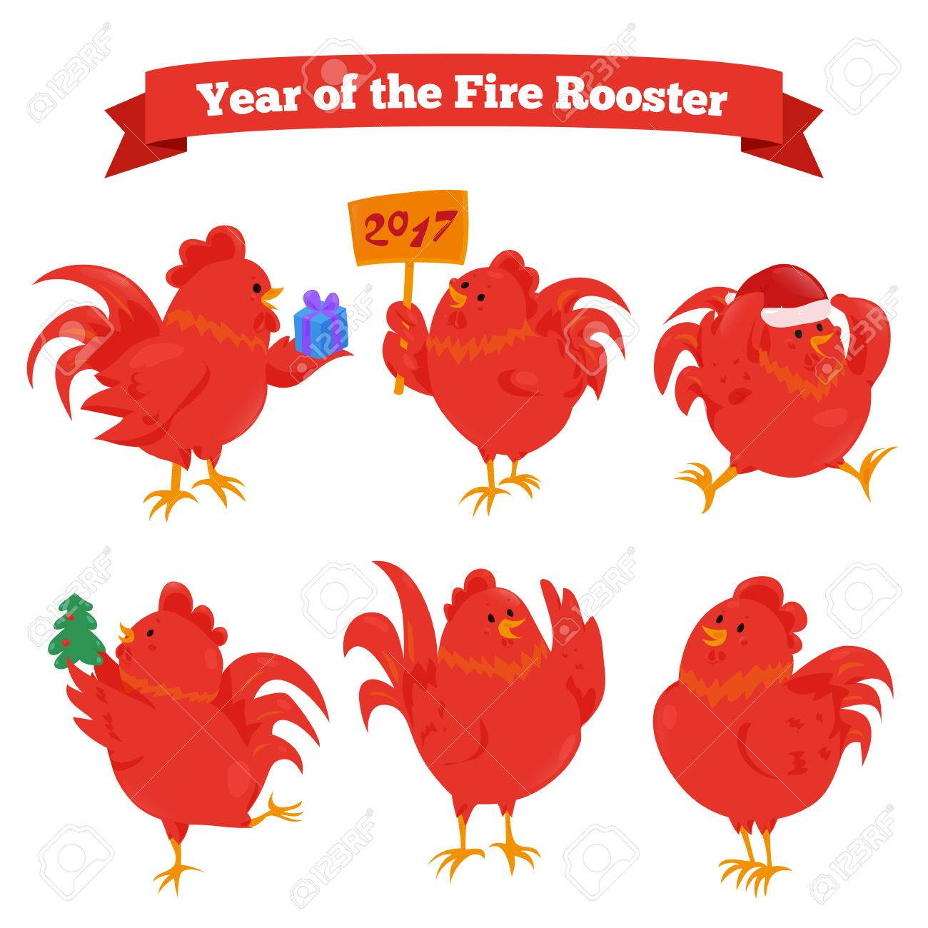 set of cartoon chinese zodiac fire rooster vector illustration for holiday design 2017 new - Chinese New Year Sign
