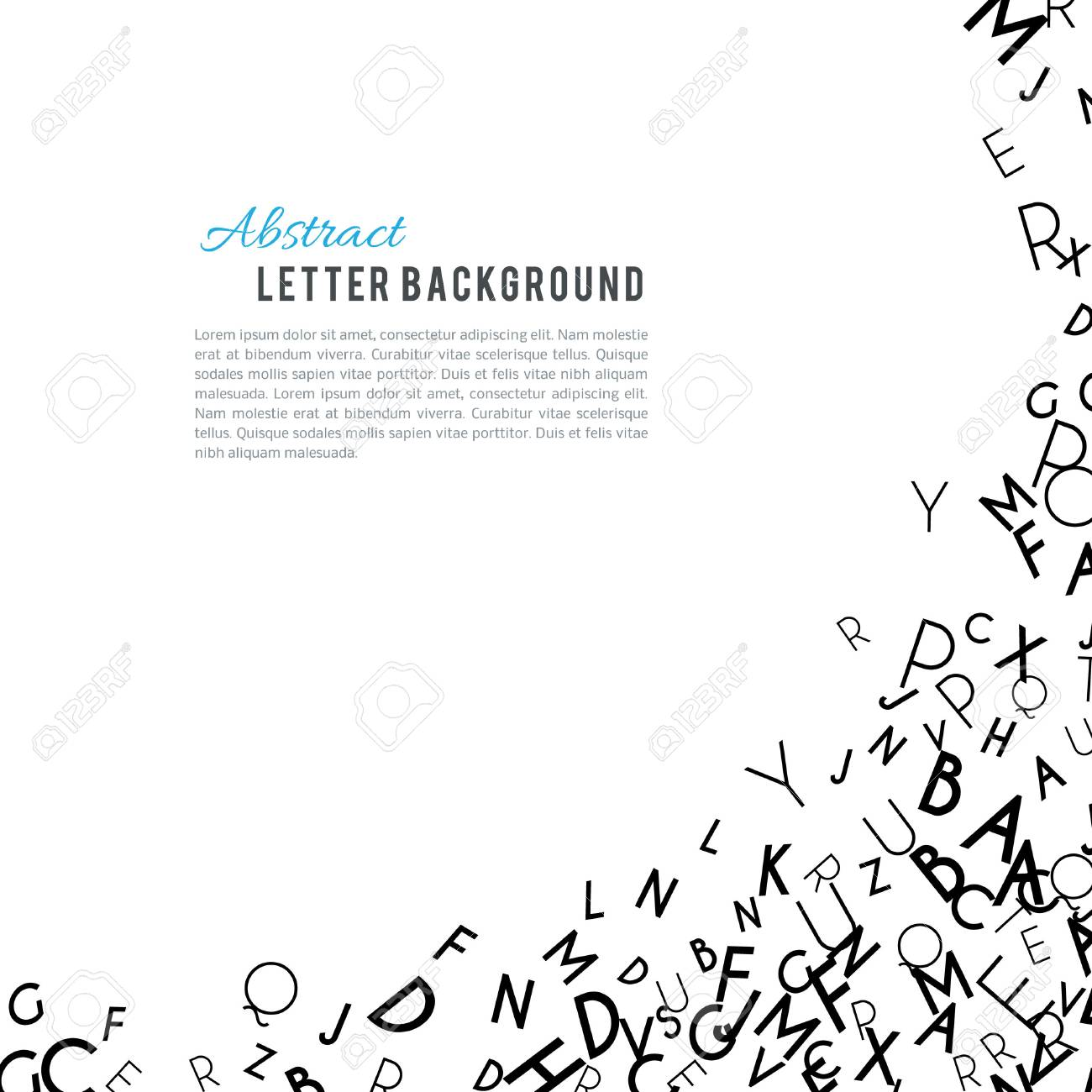 Abstract Black Alphabet Ornament Frame Isolated On White Background Illustration For Education Writing Design