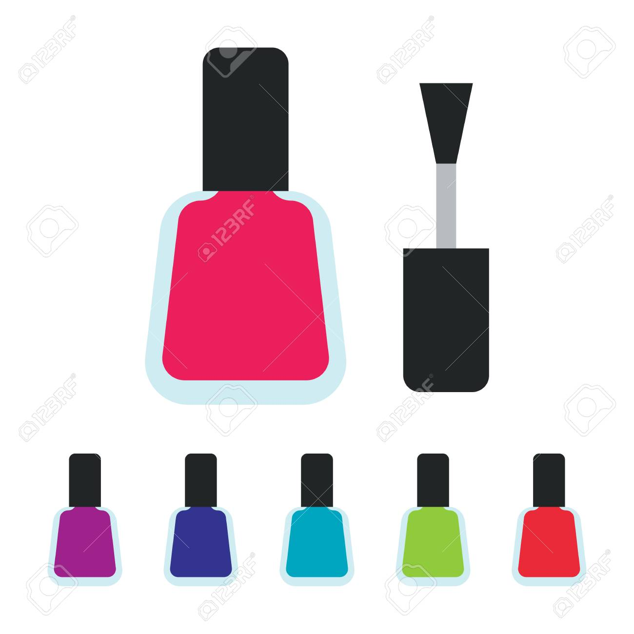 Set Bottles Of Nail Polish In Various Colors. Colorful Bottle ...