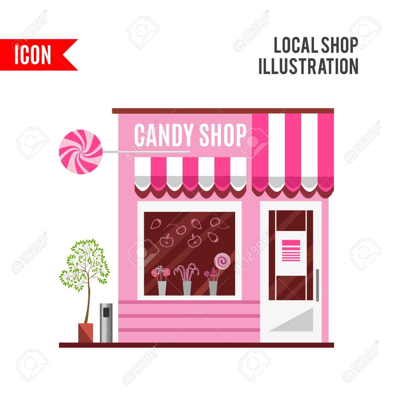 ピンク色の駄菓子屋。スモール ビジネス コンセプトのイラストをフラット デザイン。お